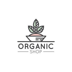 Vector Simple Icon Style Illustration Logo for Organic Shop or Market, Minimal Simple Badge with Leafs and Trees