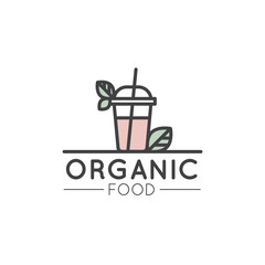 Vector Simple Icon Style Illustration Logo for Organic Shop or Market, Minimal Simple Badge with Leafs and gresh Smoothie Drink