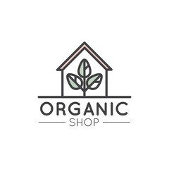 Vector Simple Icon Style Illustration Logo for Organic Shop or Market, Minimal Simple Badge with Leafs and Country House or Farm