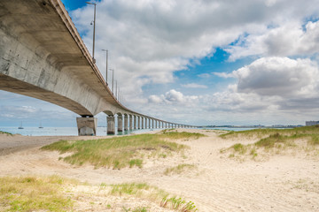 Bridge in France on the coast of La Rochelle, Charente Maritime