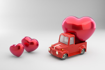 Delivery truck big red hearts ; 3d rendering