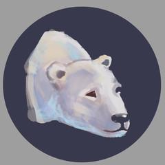 Head of a polar bear. Sketch drawn hands style