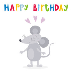 happy birthday card with funny cute mouse cartoon style. vector print