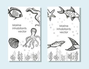 seascape, creative universal cards. vector illustration