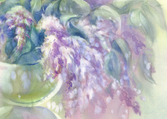 lilac bouquet in vase watercolor
