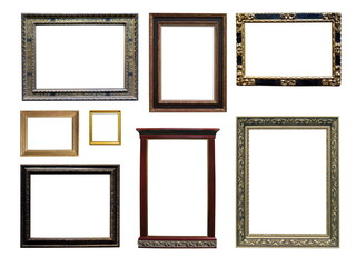 Set of isolated art empty frames in golden color