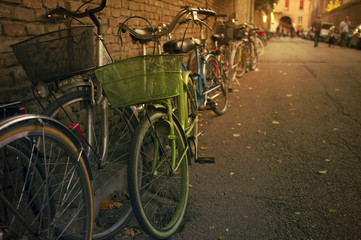 Old bicycles by the wall