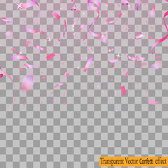 Falling Shiny Glitter Confetti isolated on transparent background. Christmas or Happy New Year Confetti. Vector Illustration