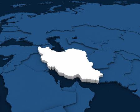 iran map 3D illustration