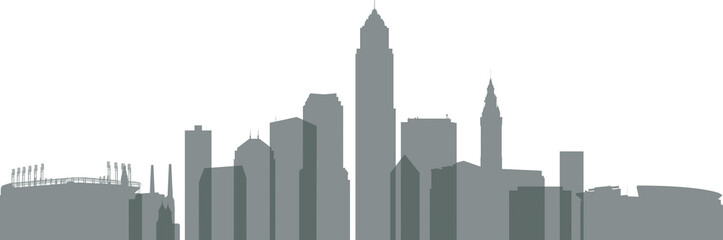 Transparent silhouette of downtown buildings of the city of Cleveland, Ohio, USA.