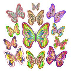 Twelve bright colourful butterflies