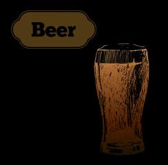 Beer set. Vector illustration of  and sausages. Pub menu.