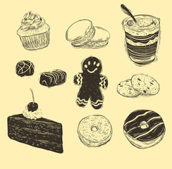 Hand drawn cakes collection isolated on white .
