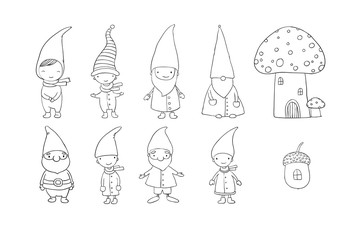 Set of cute cartoon gnomes. Funny elves. Hand drawing isolated objects on white background. Vector illustration.