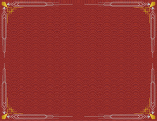Plain Chinese New Year dragon scale style background with floral corners