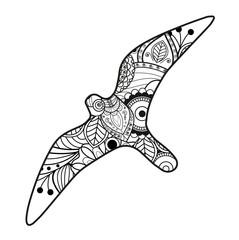 Vector illustration of a seagull mandala for coloring book, gabbiano mandala vettoriale da colorare