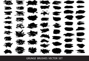 Set of black paint, ink, grunge, dirty brush strokes.Vector.