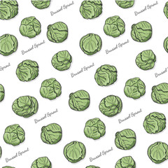 Seamless color pattern with Brussel sprout