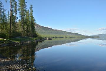 Mountain lake in the Putorana plateau.