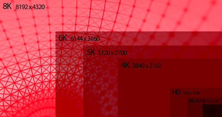 8K resolution display with comparison of resolutions. 3D render