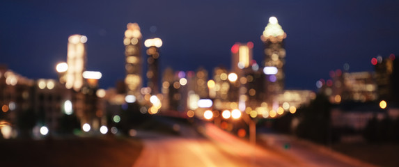 Bokeh lights of modern city skyline