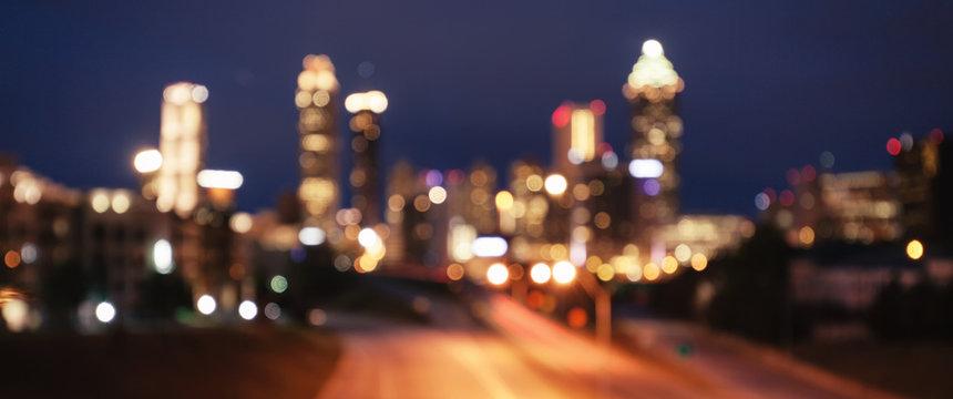 Bokeh lights of modern city skyline