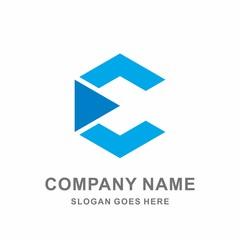 Monogram Letter C Geometric Hexagon Triangle Construction Architecture Business Company Stock Vector Logo Design Template