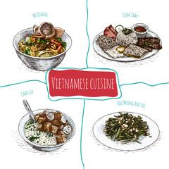 Vietnamese menu colorful illustration.