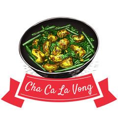 Cha Ca La Vong colorful illustration.