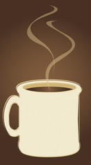 Rough drawing or sketch of a mug filled with coffee or hot cocoa, with copy space