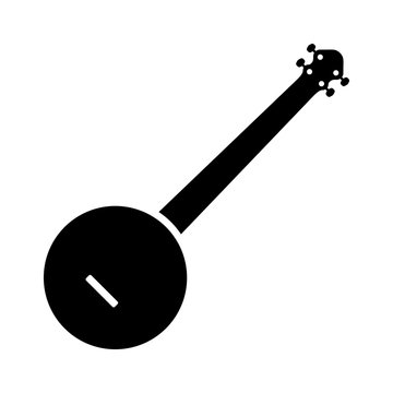 Banjo musical instrument flat icon for music apps and websites