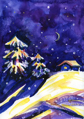 Winter time. Watercolor night background. House, stars and moonin the woods.