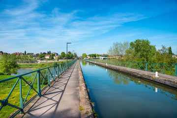 Water bridge over the Loire near Digoin in France