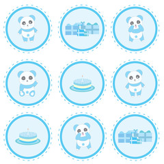 Birthday illustration with cute blue panda, gifts and birthday cake on circle frame suitable for birthday cupcake topper, sticker set, and clip art
