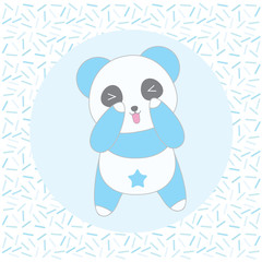 Birthday illustration with cute blue panda on sprinkles background suitable for birthday invitation card, greeting card, and postcard
