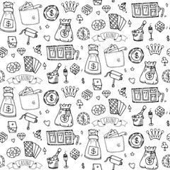 Seamless pattern with hand drawn doodle Casino icon set. Vector illustration. Cartoon Gambling symbols. Sketchy game collection: bet, jackpot, cards, chips, coins, darts, roulette, poker, money, slot.