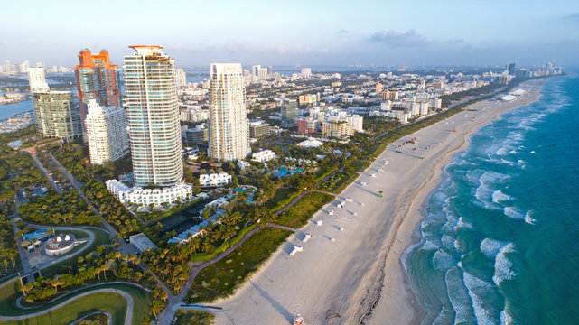 South Beach Miami Florida Skyline Aerial View