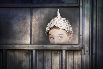 Boy in a tin foil hat