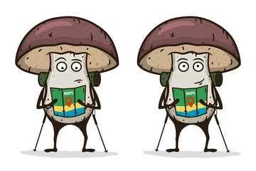 Mushroom traveler with a map and trekking pole. Cartoon character. Vector illustration.