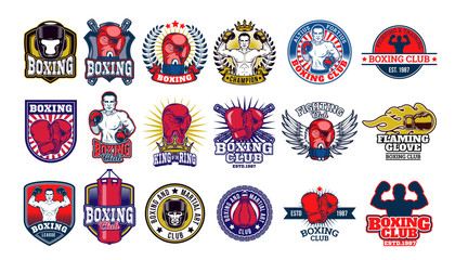 Big set boxing badges, stickers isolated on white.