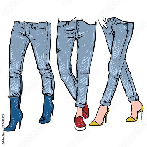 """Drawing women's fashionable denim jeans, Vector ... - photo#37"