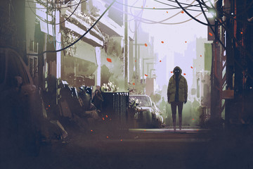 mysterious man standing on street,illustration painting Wall mural