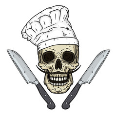 Skull in toque with knifes. Cartoon skull.