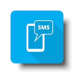 White Sms icon on blue web button