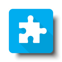 White Puzzle icon on blue web button