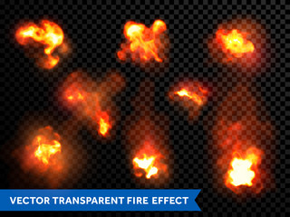 Flames fire burning explosion bursts transparent vector