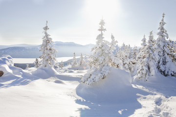View from mountain range Zyuratkul, winter landscape