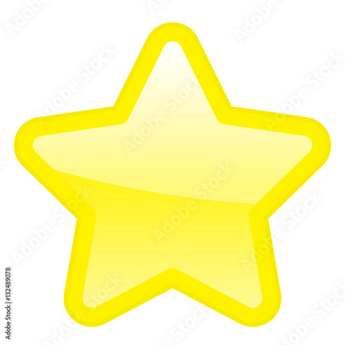 Big Gold Star Icon Isolated Ranking Mark Modern Simple Flat