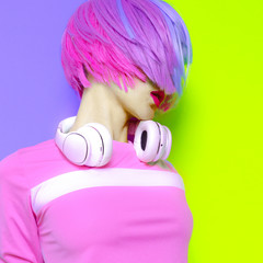 Vanilla DJ Lady. Minimal pop art style. Fashion colors. Sweet party