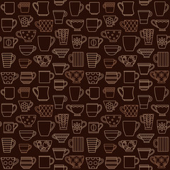 Coffee cups and mugs outline icons seamless pattern background 2
